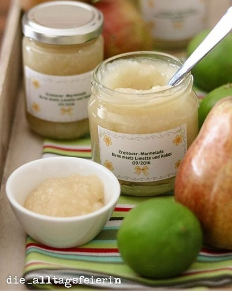Birne meets Limette und Kokos, Crossover-Marmelade, Birnen-Limetten-Kokos-Marmelade, Birne, Kokos, Limetten, Birnen, Marmelade, Brotaufstrich, Konfitüre