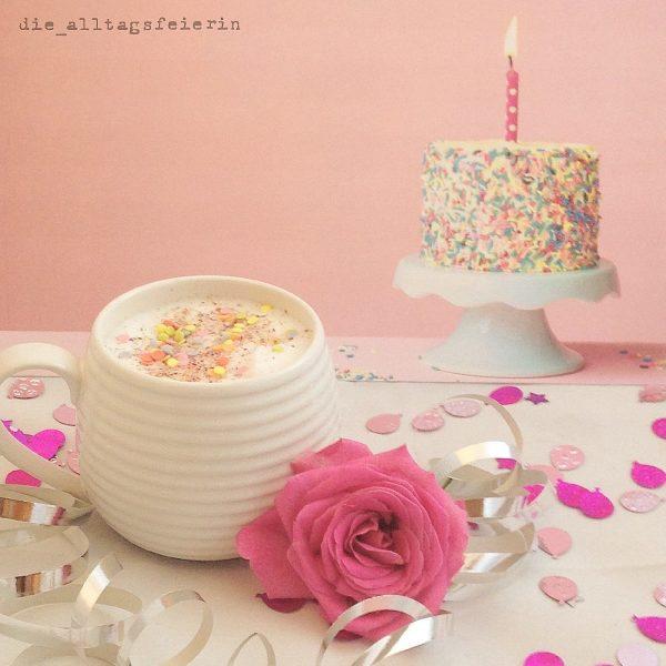 Geburtstag, pink, Kaffee, Konfetti, Rose
