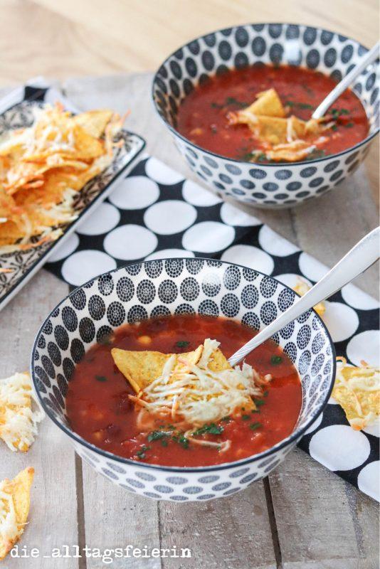 Tex-Mex-Suppe mit Tortillachips, Schnelles Rezept