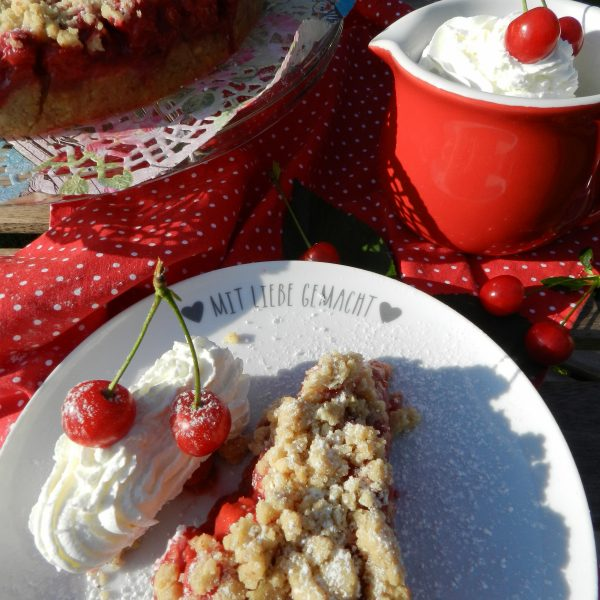 Kirsch-Streusel-Kuchen, backen, Sauerkirschen, Streuselkuchen