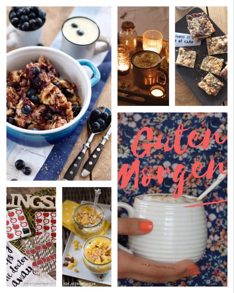 Collage, Blaubeerschmarrn, Thueringer Streuselkuchen, Kaffee, Aepfel, Milchreistraum