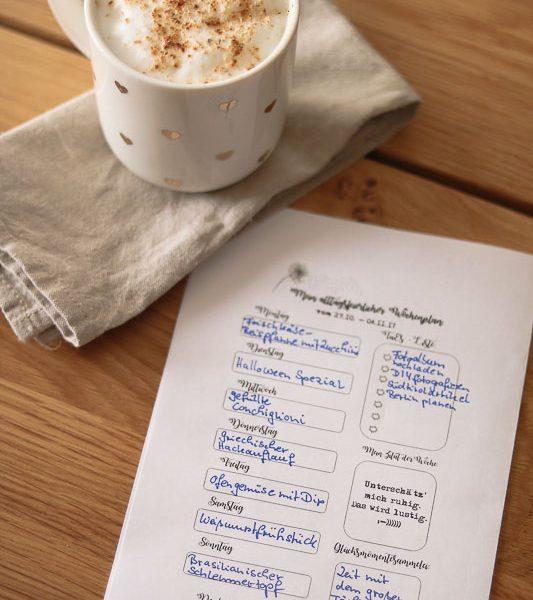 Speiseplan, KW 44/17, Essensplan, Kaffee, Alltagsfeierei, was koche ich heute,