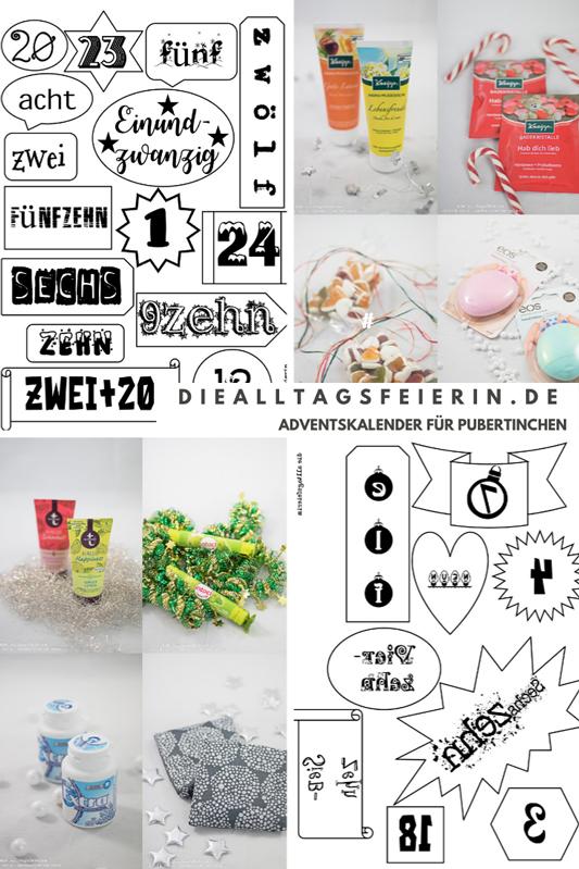 Adventskalender DIY, Ideen für die Füllung für Teenager-Mädchen mit Zahlen-Freebie zum Ausdrucken