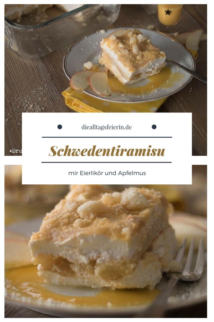 Schweden-Tiramisu, Tiramisu, Eierlikör, Apfel, Äpfel, Apfelmus, Löffelbiskuits, Sahne, Nachspeise, Dessert, Schweden, Schichtnachspeise