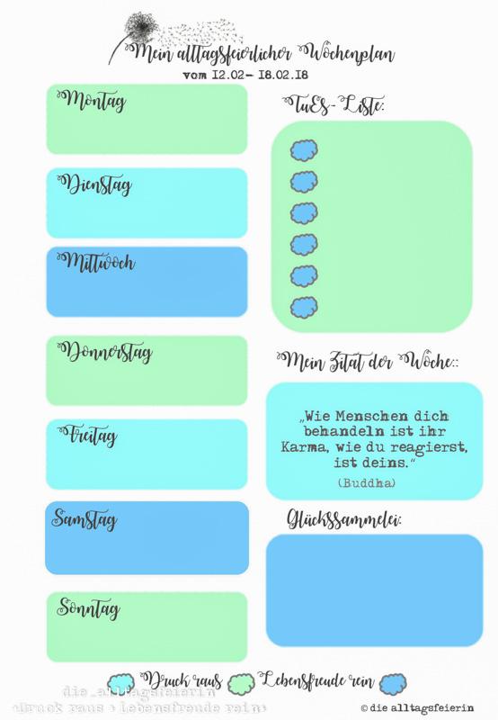 Wochenplan, Speiseplan, Freebie Wochenplan Samstag bis Freitag