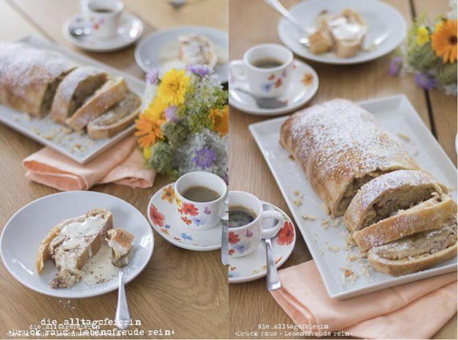 leckere Variante des Apfelstrudels, Apfel-Marzipan-Strudel, Seelenfutter, Dessert oder als Hauptspeise mit Äpfeln, Mandeln, Marzipan und Vanillesoße
