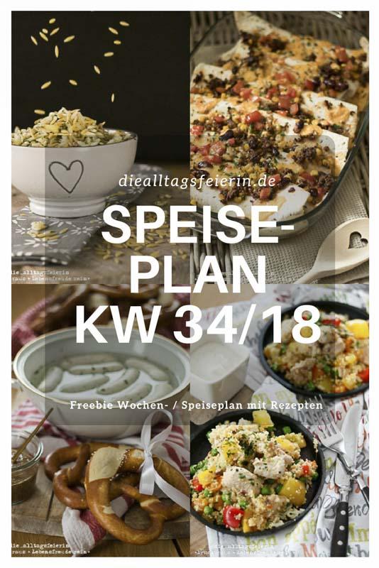 Speise- und Wochenplan mit Freebie. Hier beantworte ich die Frage, was koche ich heute? jede Woche aufs neue. Familienküche und Gerichte die Kindern schmecken. Dazu eine Vorlage für einen Speisplan, den du dir ausdrucken kannst. Das Freebie findest du auch auf Pinterest, Speiseplan, Speiseplan KW34-18
