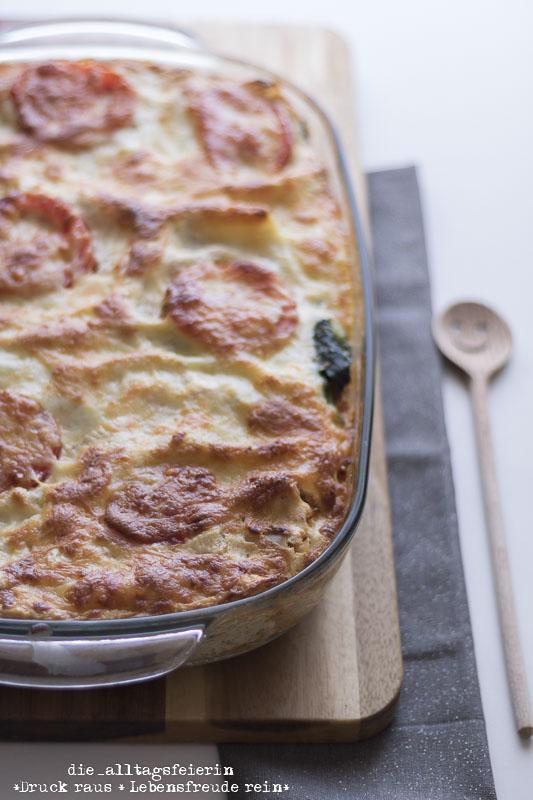 Blumenkohlhack, Foodblogger, frisch kochen, Kochen, Lasagne, Rezepte aus der Alltagsfeiereikueche, Ricotta, Spinat, vegetarische Gemüselasagne, vegetarische Sommerlasagne