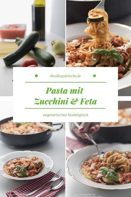Pasta mit Feta und Zucchini, bulgarischer Feta, Zucchini, vegetarische Pasta, vegetrarisch, Tomaten, Spaghetti, Balsamico, Familienessen, Kochen für Kinder, schnell gekocht, diealltagsfeierin.de, ue40