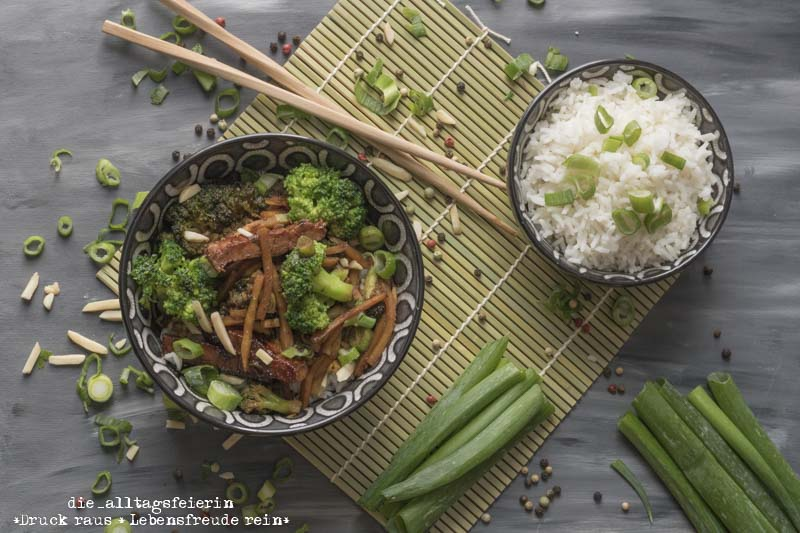 Speiseplan KW 39-19, Reis, Reis Baby, Reis, Asiatische Schweinerei mit Hoisinsoße, Asiatisches Rezept, Schweinefleisch, Hoisinsoße, Sojasoße, Asiapfanne, Brokkoli, Reis, Basmatireis, diealltagsfeierin.de, ue40