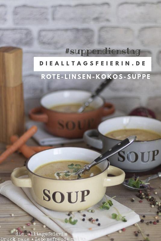Rote-Linsen-Kokos-Suppe, rote Linsen, Kokosmilch, Ingwer, veggetarisch, Suppendienstag, Ingwer, Herbstsuppe, Paprika, Curry,