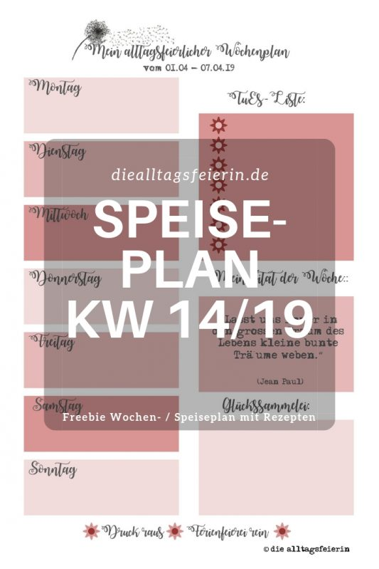 #diefreitagsfragerei, Wochenglückrückblick, Wochenendfeierei, KW13-19, Speiseplan, Wochenplan KW 14-19,