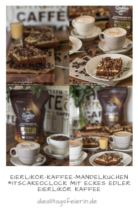 Eckes, Eckes Eierlikör, Eckes Eierlikör-Kaffee, Kaffeemanufaktur Blank Roast, ECKES edler Eierlikör, Kaffee-Mandel-Kuchen, Kaffee-Mandel-Kuchen mit Eierlikör-Kaffee, Kaffeekuchen, Kuchen mit Kaffee und Mandelstreusel, Schokolade, Kaffee, backen, Familienkuchen, Eierlikör, Vanillepudding