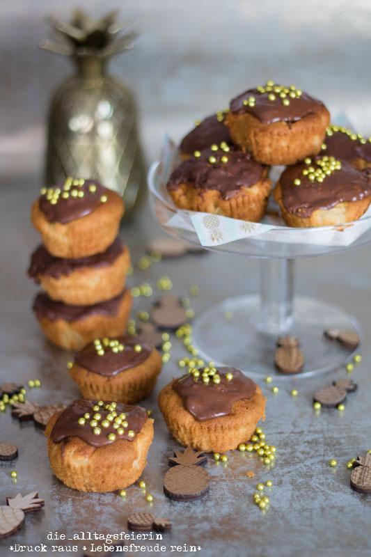 Ananas-Marzipan-Muffins, diealltagsfeierin.de, Ananas, Muffins, Marzipan
