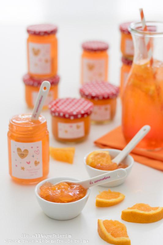 Fruehstuecksideen, Orangen-Aperol-Marmelade, Aperol-Spritz-Marmelade, Aperol, Aperol Spritz, Aperitif-Cocktail, Sommergetränk, Sommermarmelade, Marmelade mit Schwips, Orangen-Marmelade, selbstgemachte Marmelade, Marmeladenrezept, Rezept für Aperol-Marmelade, Marmelade kochen