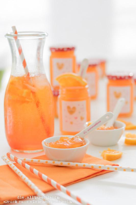 Orangen-Aperol-Marmelade, Aperol-Spritz-Marmelade, Aperol, Aperol Spritz, Aperitif-Cocktail, Sommergetränk, Sommermarmelade, Marmelade mit Schwips, Orangen-Marmelade, selbstgemachte Marmelade, Marmeladenrezept, Rezept für Aperol-Marmelade, Marmelade kochen