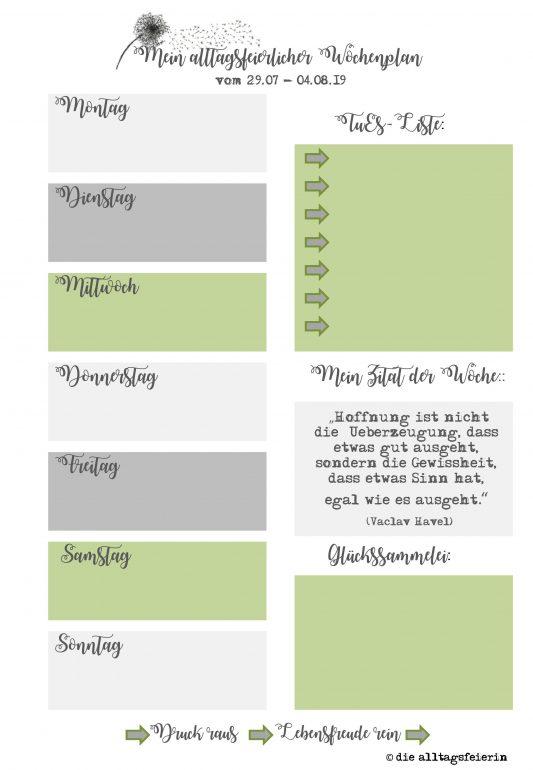 Wochenendfeierei KW 31-19, Speiseplan KW31-19, Wochenplan, Freebie zum Ausdrucken, Was koche ich heute'?, Wochenglückrückblick, Wochenendfeierei