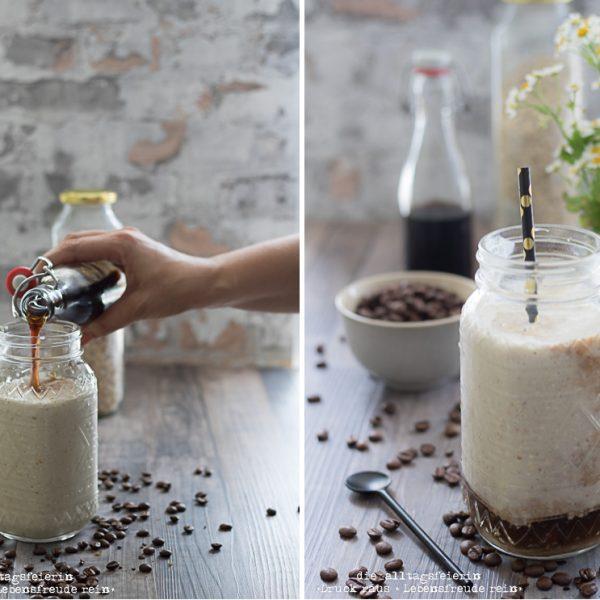 Cold Brew, Cold Brew Kaffee, kalter Kaffee, Cold Brew Smoothie, Bananen-Kaffee-Smoothie, Kaffee-Smoothie, Smoothie, Cold Brew Rezepte, Cold Brew Varianten, Cold Brew mit Kokosmilch, diealltagsfeierin.de, gesundes Frühstück, Frühstück to go