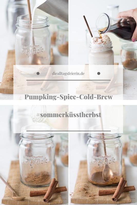 Cold Brew, Pumpkin Spice, Cold Brew Pumpkin Spice Latte, Zimt, Ingwer, Muskat, Nelken, herbstlicher Cold Brew, Cold Brew Rezept, Cold Brew Variation, diealltagsfeierin.de,