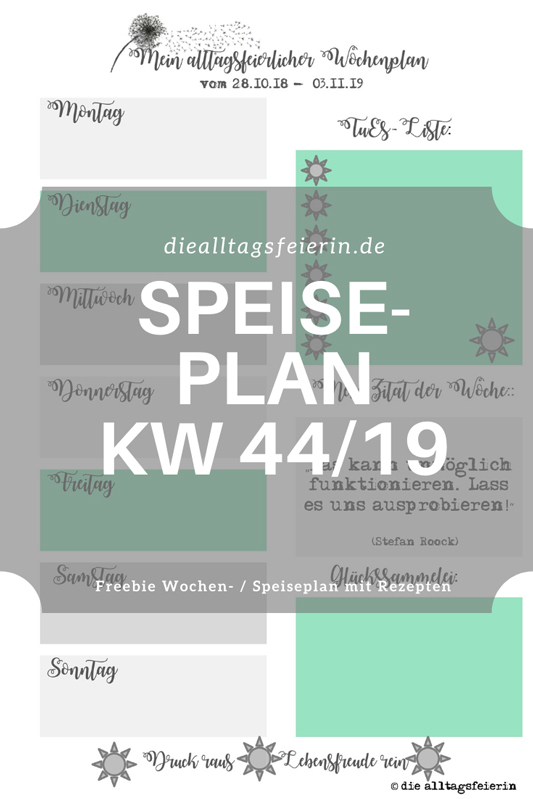 Speiseplan für die Woche KW 44-19, Wochenplan mit Rezepten