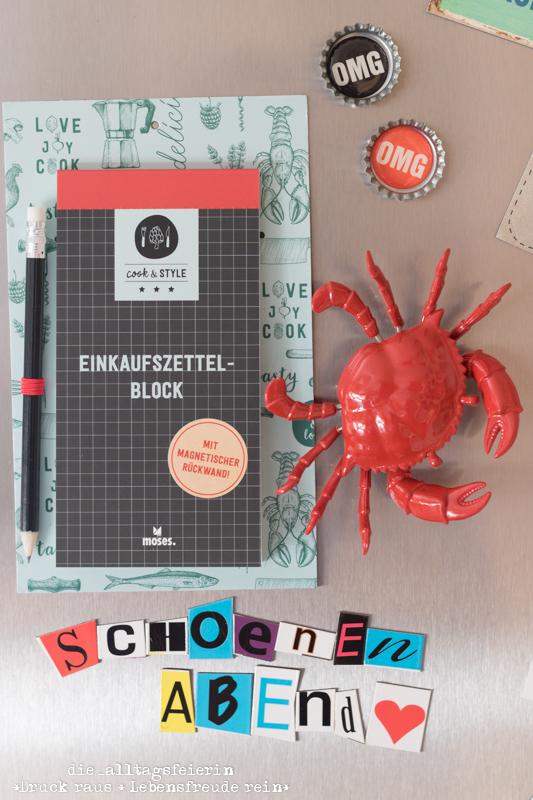 cook&STYLE, moses. Verlag, Rezeptordner, Rezepte, Geschenkideen zum Einzug, personalisiertes Rezept, Einkaufsblock mit Magnet, Krebs, Kühlschrankmagnet