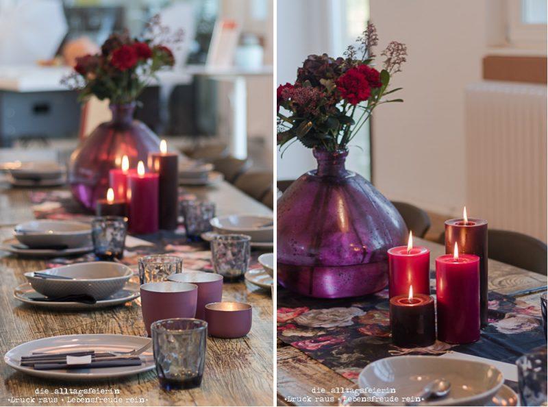 Schafferer Freiburg, Tischdeko violett, herbstliche Tischdeko,