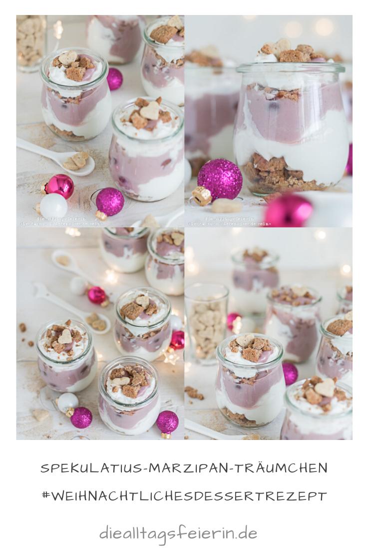 Spekulatius-Marzipan-Traeumchen, weihnachtliches Dessert mit Kirschen, Marzipan und Spekulatius, leicht und lecker