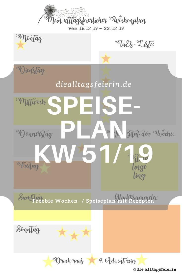 Speiseplan für die Woche KW 51-19, Wochenplan mit Rezepten