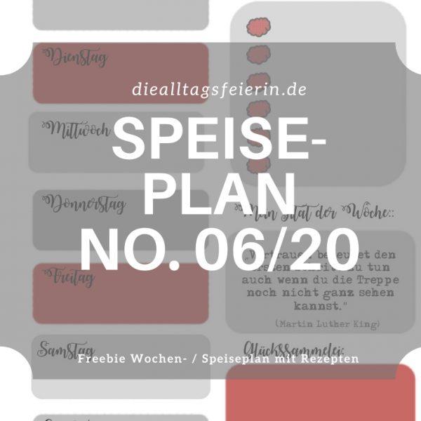 Speiseplan No 06-2020, Speiseplan-Vordruck fuer die Woche 06 2020, Freebie zum Ausdrucken