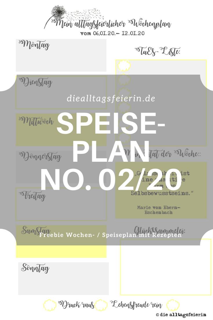 Speiseplan-Vordruck fuer die Woche 02 2020, Freebie zum Ausdrucken, Speiseplan No. 02-2020