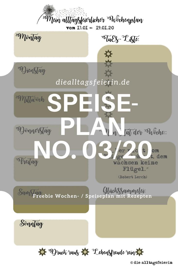 Speiseplan-Vordruck fuer die Woche 03 2020, Freebie zum Ausdrucken, Speiseplan No. 03-2020