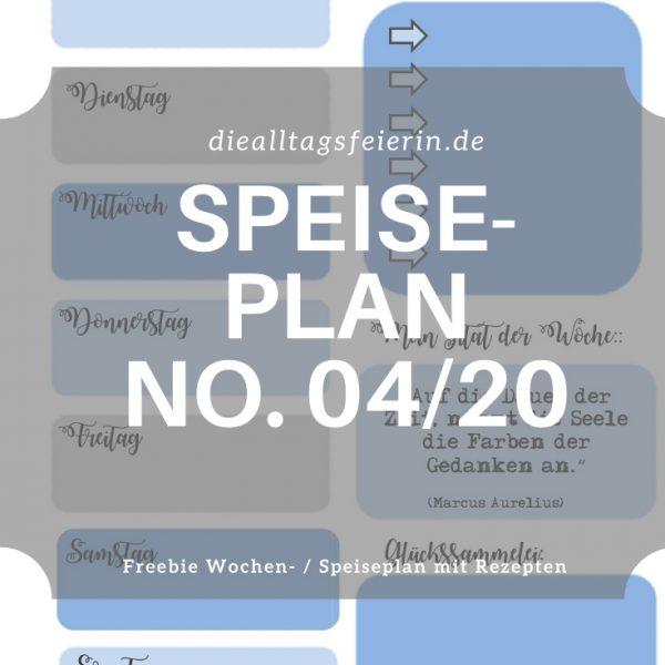 Speiseplan No 04-2020, Speiseplan-Vordruck fuer die Woche 03 2020, Freebie zum Ausdrucken