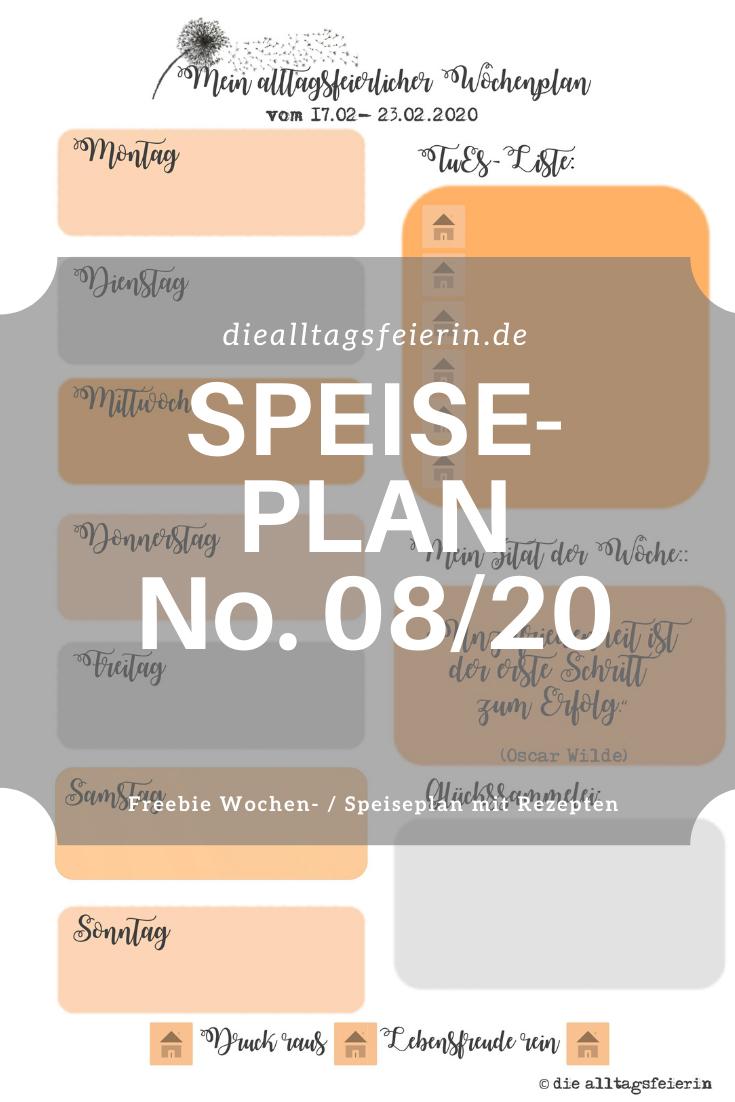 Speiseplan No 08-2020, Speiseplan-Vordruck fuer die Woche 08- 2020, Freebie zum Ausdrucken