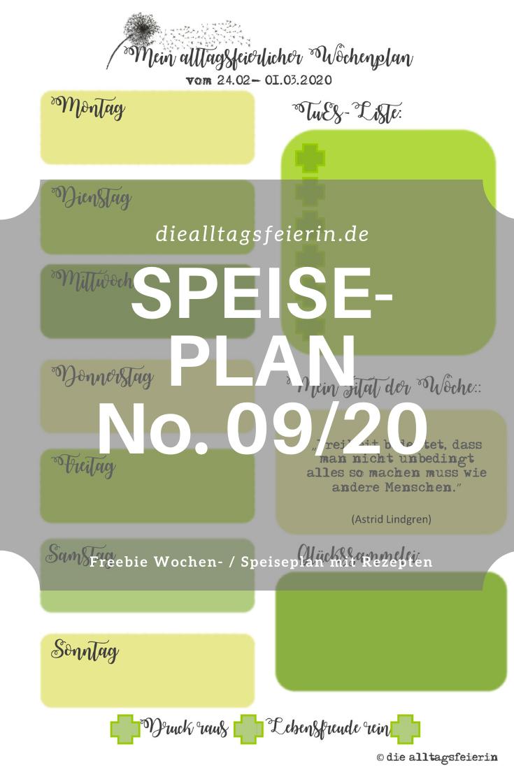 Speiseplan No 09-2020, Speiseplan-Vordruck fuer die Woche 09- 2020, Freebie zum Ausdrucken