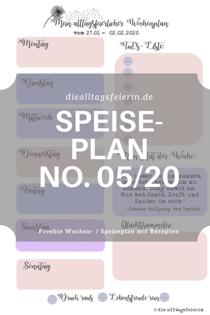 Speiseplan No 11-2020, Speiseplan-Vordruck fuer die Woche 11- 2020, Freebie zum Ausdrucken