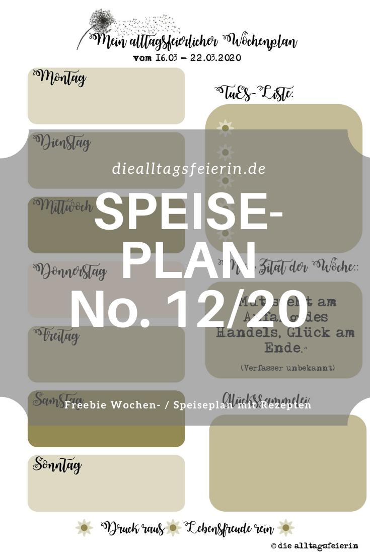 Speiseplan No 12-2020, Speiseplan-Vordruck fuer die Woche 12- 2020, Freebie zum Ausdrucken