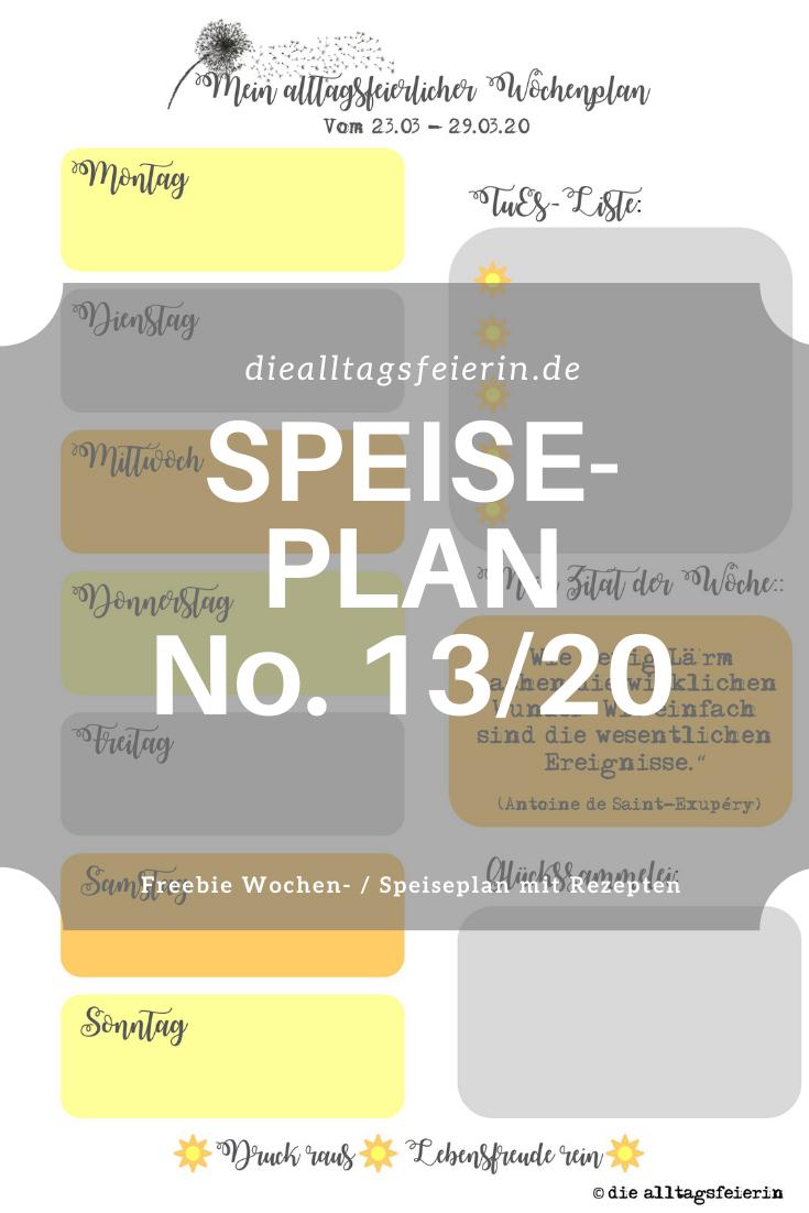 Speiseplan No 13-2020, Speiseplan-Vordruck fuer die Woche 13-2020, Freebie zum Ausdrucken