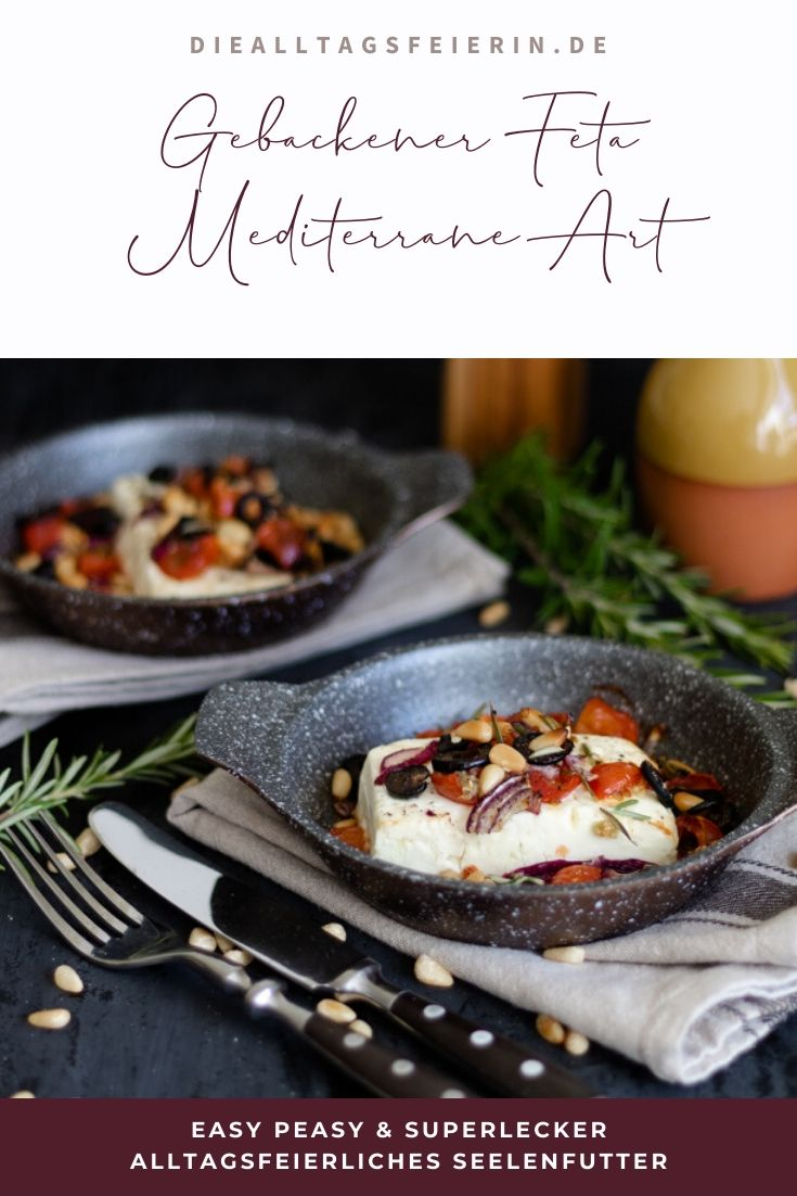 Gebackener Feta nach mediterrane Art, ein leckeres vegetarisches Rezept, einfach schnell gekocht.
