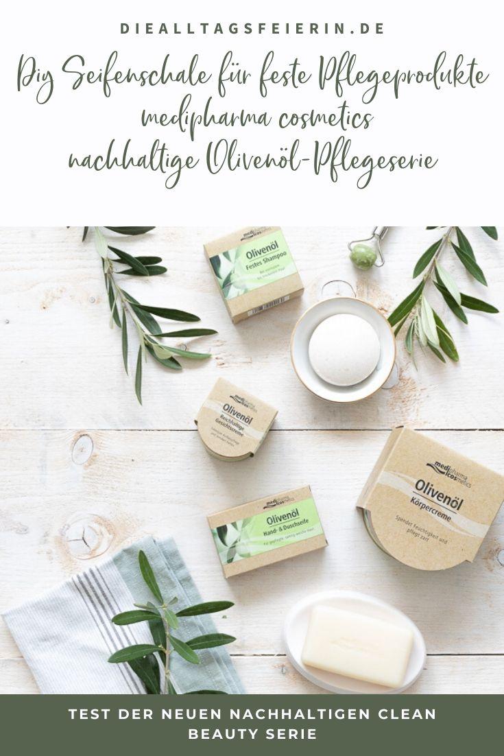 Test der nachhaltigen Olivenöl-Pflegeserie von medipharma cosmetics: festen Olivenöl-Shampoo, Olivenöl Hand- und Duschseife, Olivenöl-Körpercreme und der reichhaltigen Olivenöl-Gesichtscreme, DIY Seifenschale aus Fimo