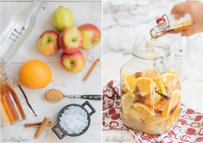 Rezept für Bratapfel-Likör, ein schönes Geschenk aus der Küche, das gut in den Herbst oder Winter passt.