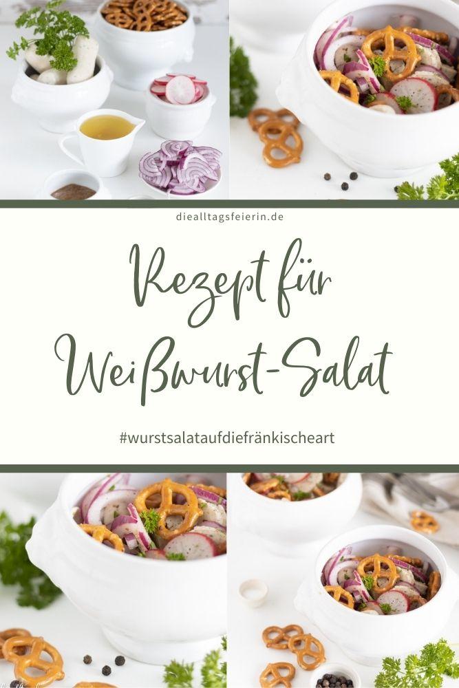 Rezept für einen bayerischen Weißwurst-Salat. Weißwurst auf die andere Art. diealltagsfeierin.de