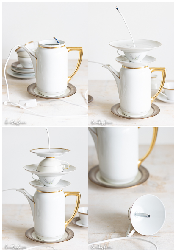 Tassen-Lampe aus Sammeltassen, selbstgebaute Vintage-Lampe aus Sammeltassen und Kanne. DIY für ein ganz besonderes Interieur-Stück auf diealltagsfeierin.de