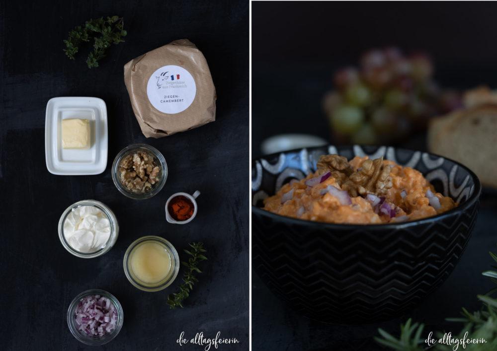 Ziegenkäse aus Frankreich, Käseplatte mit französischem Ziegenkäse, Ziegenkäse-Obazda-Rezept