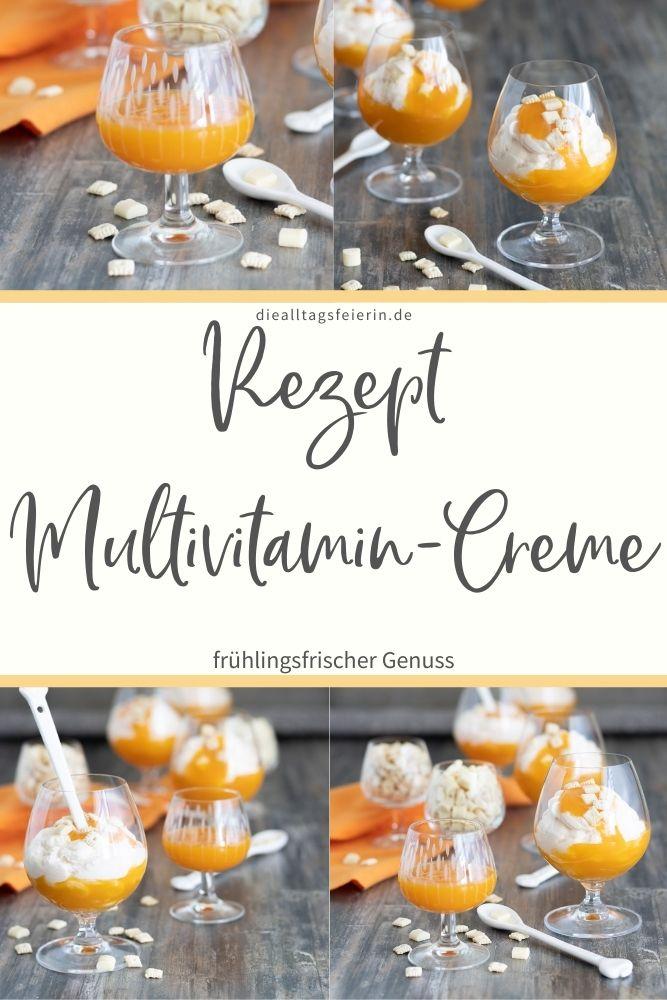 Multivitamin-Creme, ein leckerer Nachtisch, der dir den Frühling in den Mund zaubert. Mit Multivitaminsaft und Joghurt
