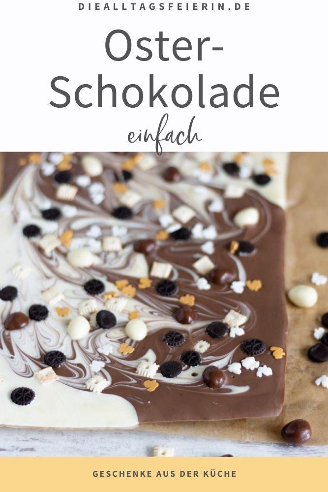 Oster-Schokolade, ein einfaches Geschenk aus der Küche. Weiße Schokolade und Vollmilch-Schokolade
