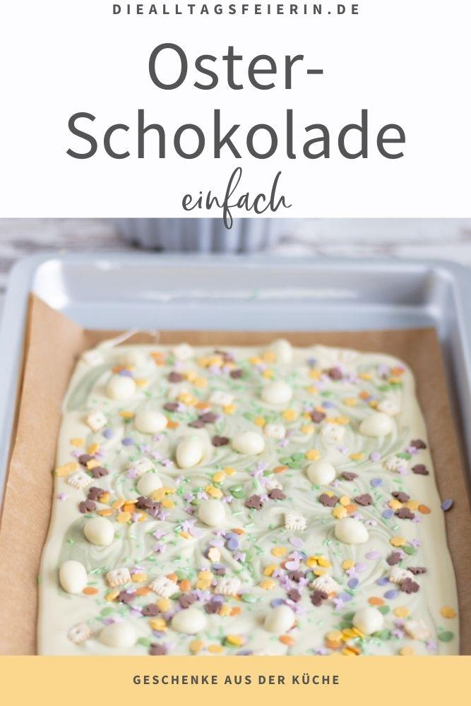 Oster-Schokolade, ein einfaches Geschenk aus der Küche. Weiße Schokolade, Vollmilch-Schokolade