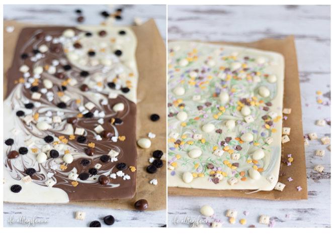Oster-Schokolade, ein einfaches Geschenk aus der Küche. Weiße Schokolade