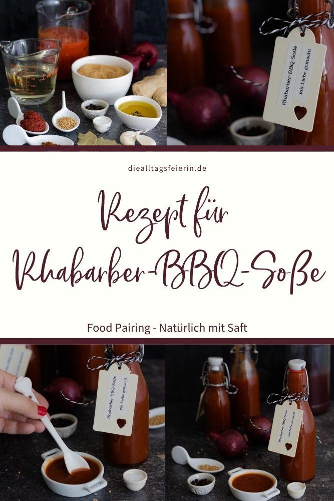 Food Pairing - Rezept für eine Rhabarber-BBQ-Soße mit Rhabarbernektar, einfach lecker und natürlich mit Saft. Verband für deutsche Fruchtsaft-Industrie