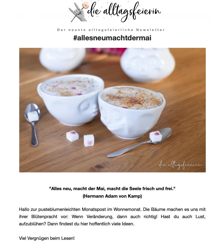 Der alltagsfeierliche Newsletter, die pusteblumenleichte Monatspost von diealltagsfeierin.de