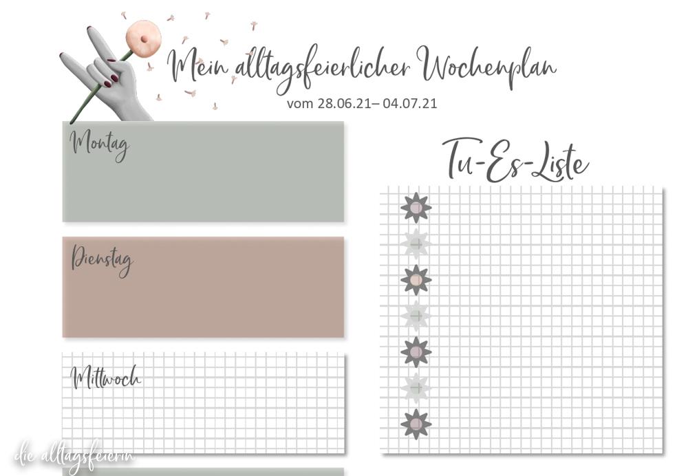 Essensplan No 26-2021, der wöchentliche Speiseplan auf diealltagsfeierin.de mit Freebie zum Ausdrucken